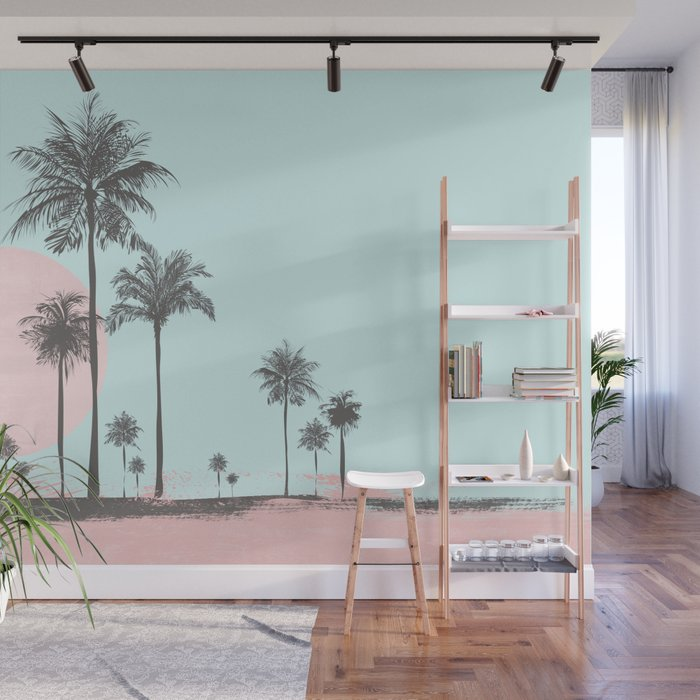 Beachfront palm tree soft pastel sunset graphic Wall Mural