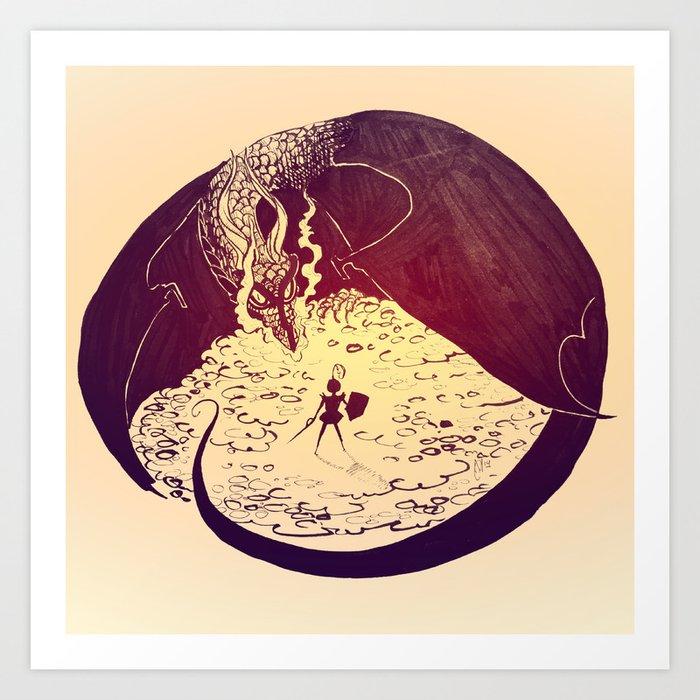 Defensive Dragon Art Print