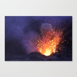 Lava explosion at Mount Yasur Vanuatu at dusk Canvas Print