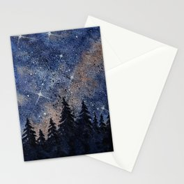 Pine trees and galaxies watercolor Stationery Cards