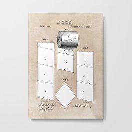 patent art Wheeler Toilet paper roll 1890 Metal Print