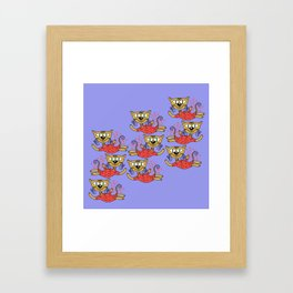 Cats in pink Framed Art Print