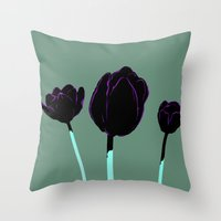 tulips Throw Pillows featuring Tulips by Ludovic Jacqz