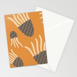 Orange and black elegant Jellyfish Digital pattern, made By Eau de Papier Illustration Studio and Design Stationery Cards