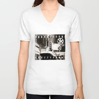 theater V-neck T-shirts featuring Turnage Theater by Justin Alan Casey