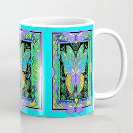 Butterflies Morphing Blue-Green Mosaic Abstract Coffee Mug