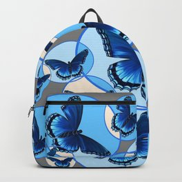 ABSTRACT MODERN ART CIRCLE PATTERNED  BLUE BUTTERFLY FLOCK Backpack
