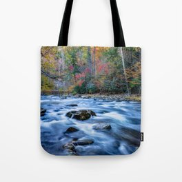 Fall in the Smokies - Autumn Colors at Laurel Creek in Smoky Mountains Tote Bag