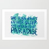 "coldplay Art Prints featuring ""She Dreamed of Paradise""-Coldplay by Fabfari"