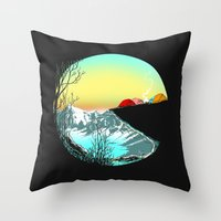 camp Throw Pillows featuring Pac camp by carbine