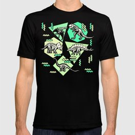 90's Dinosaur Skeleton Neon Pattern T-shirt