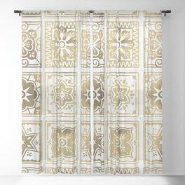 Talavera Mexican Tile – Gold Palette Sheer Curtain