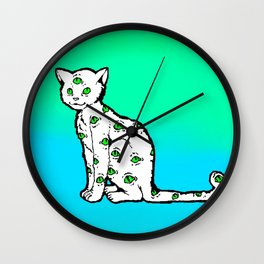 SCAREDY CAT (Cool Colors) Wall Clock