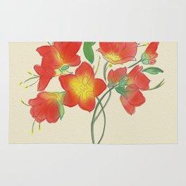 Red Loose Flower Rug