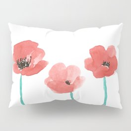 Three Poppies \\ Watercolor Flowers Pillow Sham