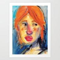 redhead Art Prints featuring Redhead by Danilo Gonçalves