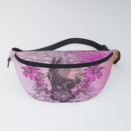 Funny easter bunny with flowers Fanny Pack