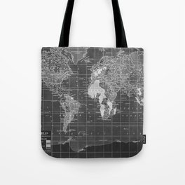Black and White Vintage World Map Tote Bag
