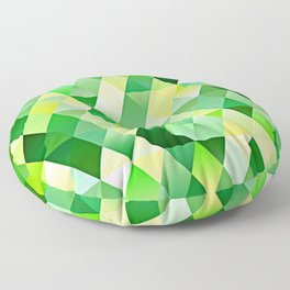 Lime Green Yellow White Diamond Triangles Mosaic Pattern Floor Pillow