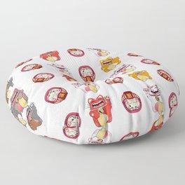 Colorful Maneki - neko pattern design Floor Pillow
