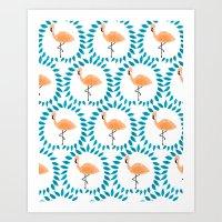 Flamingo and Leaves Art Print