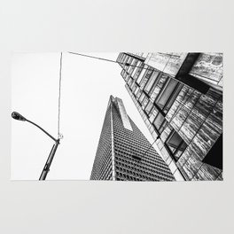 pyramid building and modern building in black and white at San Francisco, USA Rug