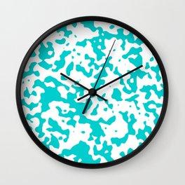 Spots - White and Cyan Wall Clock