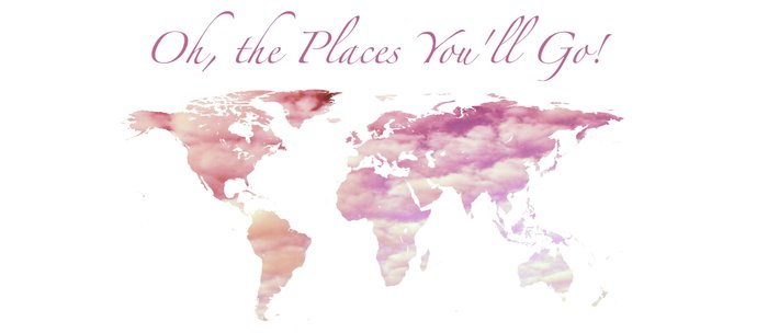 Cotton Candy Sky World Map - Oh, the Places You'll Go! Coffee Mug