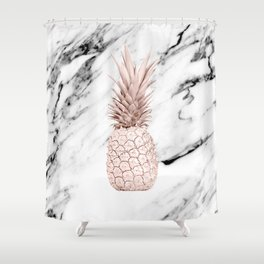 Pineapple Rose Gold Marble Shower Curtain