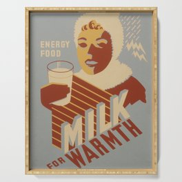 Vintage Food Poster - Milk Serving Tray