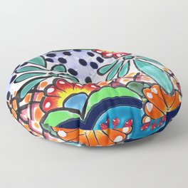 Colorful Talavera, Green Accent, Large, Mexican Tile Design Floor Pillow