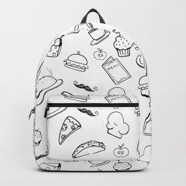 Food Food Black & White Backpack