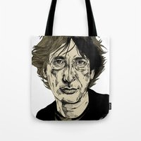 neil gaiman Tote Bags featuring Neil Gaiman by Andy Christofi