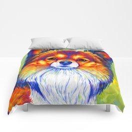 Colorful Long Haired Chihuahua Dog Comforters