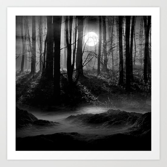 Mystical Dark & Eerie Forest with Moon (Black & White) Art Print