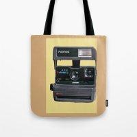 polaroid Tote Bags featuring Polaroid  by Dora Birgis