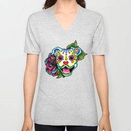 Smiling Pit Bull in White - Day of the Dead Pitbull Sugar Skull Unisex V-Neck