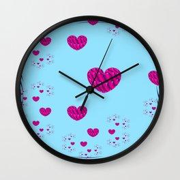 Sacred Geometry Art- Fractal Art-Cotton Candiez- Heart Art-Blue Art- Pink Hearts- Pattern Wall Clock