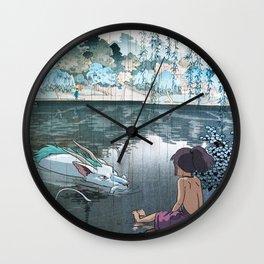 Haku and Chihiro woodblock mashup Wall Clock