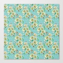 Vintage Rose on Sea Blue Canvas Print