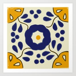Talavera Mexican tile inspired bold design in blue and yellow Kunstdrucke