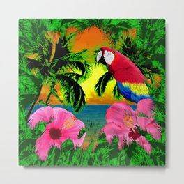 Palm Trees And Island Sunsets Metal Print