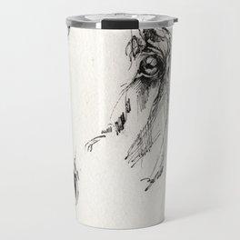 Horse head  ink art Travel Mug