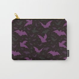 Flying Purple Halloween Bats Vector Pattern Carry-All Pouch