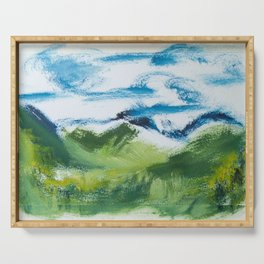 Landscape Fresh and Vibrant oil on paper by CheyAnne Sexton Serving Tray