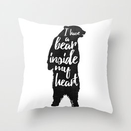 Bear Heart Throw Pillow