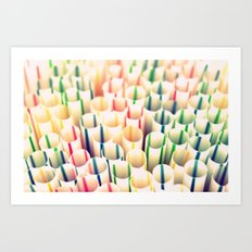 Stripes & Straws Art Print
