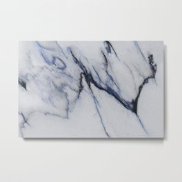 White Marble with Black and Blue Veins Metal Print