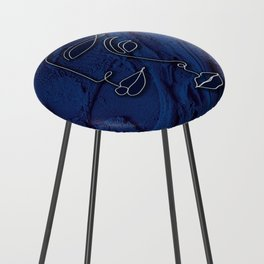 N32 - Antique Indigo Traditional Moroccan Abstract Art Painting. Counter Stool