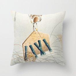 Ring sparrow on scarecrow by Ohara Koson Throw Pillow
